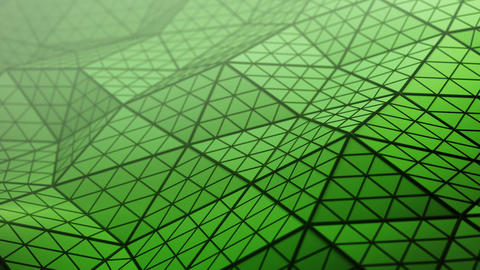 Distorted green low poly shape loopable 3D render animation Animation