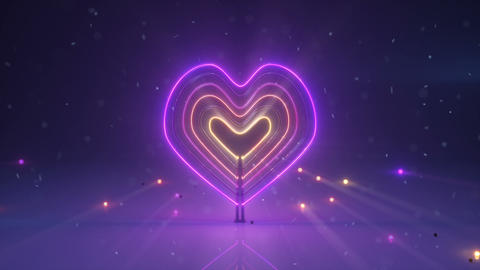 Colorful neon light heart symbol 3D render seamless loop animation Animation
