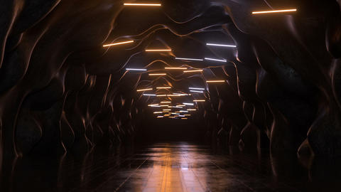 Deserted tunnel with fluorescent lamps 3D render seamless loop animation Animation