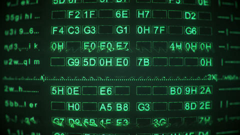 Green digital code on screen of vintage CRT monitor seamless loop animation Animation
