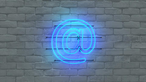 Blue neon light email symbol seamless loop 3D render animation Animation