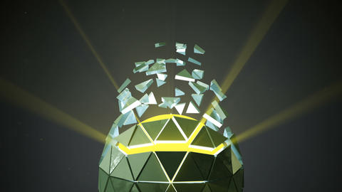 Icosahedron ball shape and flying polygons loopable 3D... Stock Video Footage