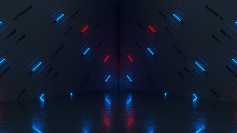 Glowing blue and red neon tubes seamless loop 3D render…, CG動画素材