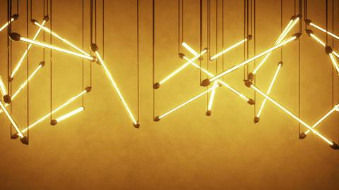 Orange fluorescent light bulbs hanging seamless loop 3D render animation Animation