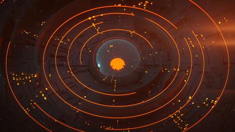 Orange futuristic technical construction seamless loop 3D render animation Animation