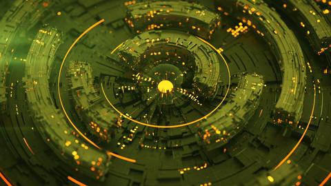 Rotating green circle elements seamless loop 3D render animation Animation