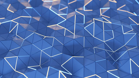 Low poly blue surface with glowing edges seamless loop 3D render animation Animation