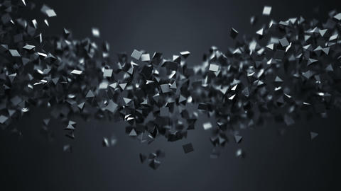 Stream of chaotic low poly black shapes seamless loop 3D render animation Animation