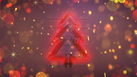 Neon symbol of christmas tree and glitter seamless loop 3D render animation Animation