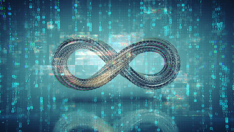 Infinity symbol and digital data are glitching seamless loop 3D render animation Animation