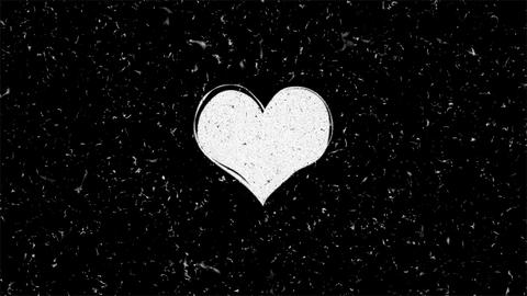 White heart shape on black with noise seamless loop animation Animation