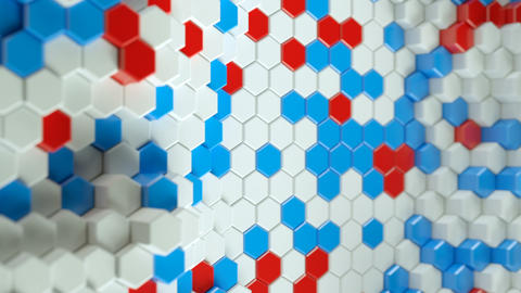 White red and blue hexagon shapes 3D render seamless loop animation Animation