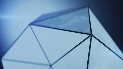 Grunge low poly shape in blue light seamless loop 3D render Animation