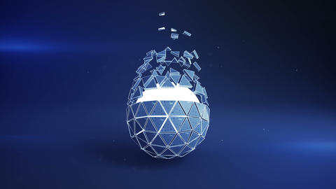 Blue icosahedron ball shape and flying polygons loopable 3D render animation Animation