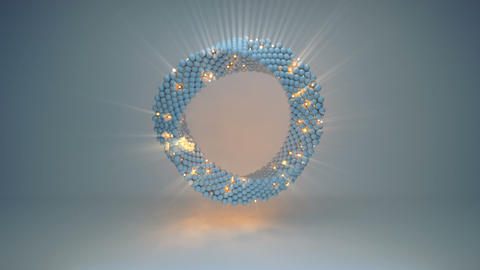 Twisted ring of illuminating spheres seamless loop 3D render animation Animation