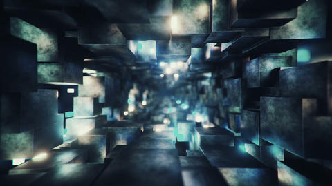 Sci-fi corridor with fluorescent lights 3D render seamless loop animation Animation