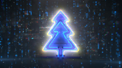 Neon christmas tree with digital glitch effect seamless loop 3D render animation Animation