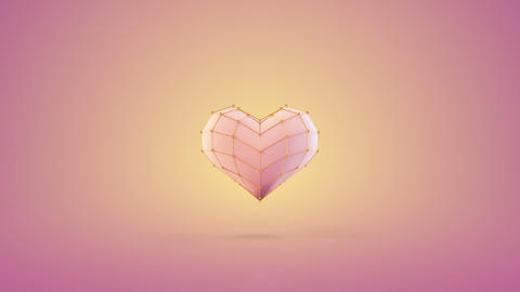 Pink jumping heart shape seamless loop 3D render animation Animation