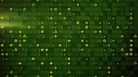 Green cubes and random symbols loopable 3D render animation Animation