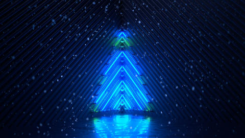 Glowing blue neon christmas tree and snowfall seamless loop 3D render animation Animation