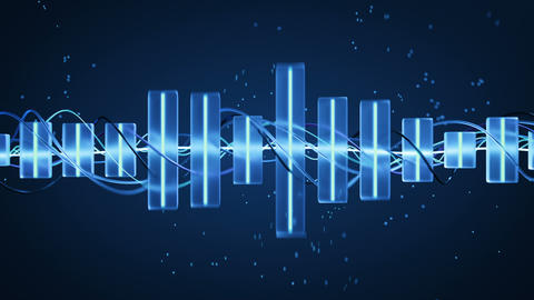 Glowing blue music equalizer seamless loop 3D render animation Animation