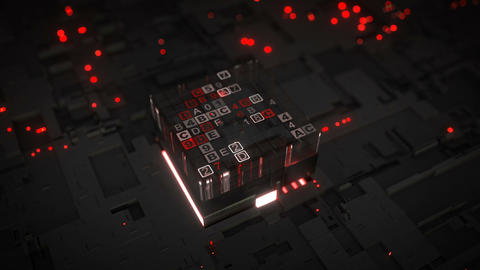 Red central processing unit is decoding data seamless loop 3D render animation Animation