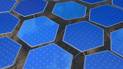 Fictional solar panels with automatic positioning system loop 3D animation Animation