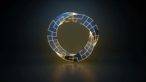 Twisted ring shape with glowing edges seamless loop 3D render animation Animation