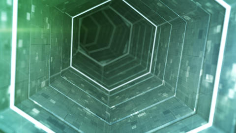 Futuristic tunnel with green fluorescent lights 3D render loopable animation Animation