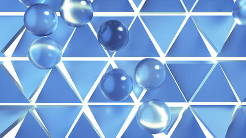 Soft blue spheres on on triangular cells 3D render animation Animation