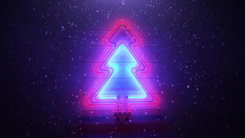 Glowing neon christmas tree and snowfall seamless loop 3D render animation Animation