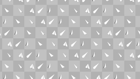 Handmade paper plane collection. Loop animation of flowing white paper plane on gray background. Animation