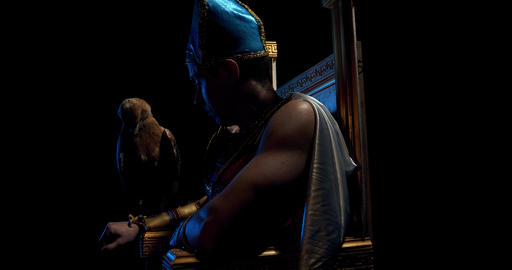 Ancient egyptian pharaoh wearing traditional clothes is sitting on a throne, 4k Live Action