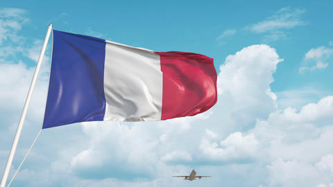 Plane arrives to airport with national flag of France. French tourism Live Action