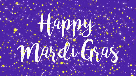 Sparkly purple Happy Mardi Gras greeting card video Animation