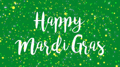 Sparkly green Happy Mardi Gras greeting card video Animation