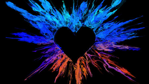 Color Burst love heart shaped Valentine's Day colorful smoke powder explosion Animation
