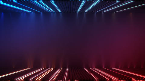 Glowing red and blue fluorescent lamps seamless loop 3D render animation Animation
