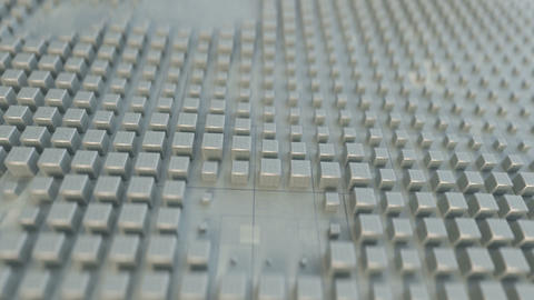 White cubes on techno surface seamless loop 3D render animation Animation