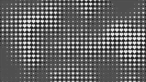Gray Tone Hearts Abstracts as a Valentine's Day holiday motion backdrop loop Live Action