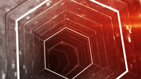 Modern corridor and red light 3D render seamless loop animation Animation