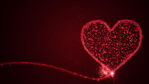 Valentines day concept animation with full particles in heart on red Live Action