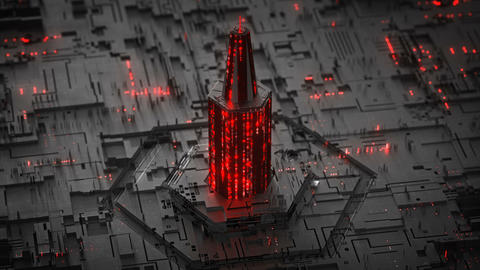 Digital tower of glowing HEX code seamless loop 3D render animation Animation