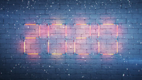 Neon text 2020 on brick wall and snowfall seamless loop 3D render animation Animation
