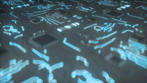 Electric current on on Printed circuit board seamless loop 3D render animation Animation