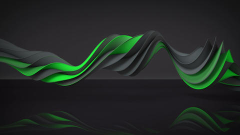 Green and gray twisted spiral shape spinning seamless loop 3D render animation Animation