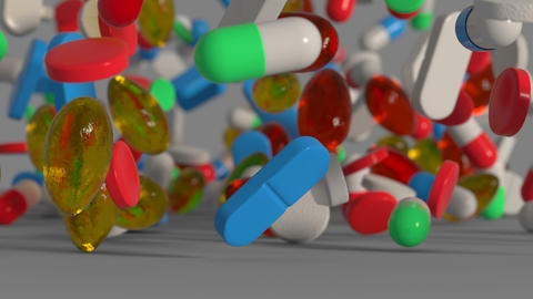 Medicine pills and capsules are falling on a surface 3D render animation Animation