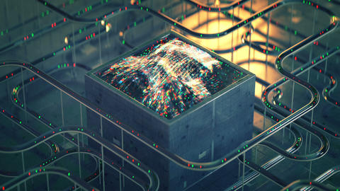 Sci-fi technical structure with waveform seamless loop 3D render animation Animation