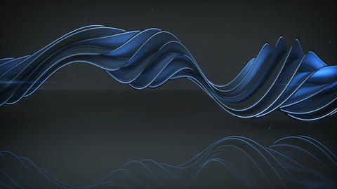 Light emitting blue twisted spiral shape spinning loopable 3D render animation Animation