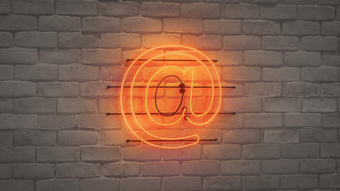 Orange neon light email sign on wall seamless loop 3D render animation Animation